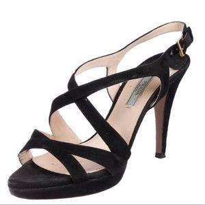 🎉HP🎉PRADA black suede heels sandal